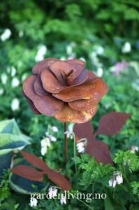 Bilde av Rose 20 cm på stang med blader, 85 cm