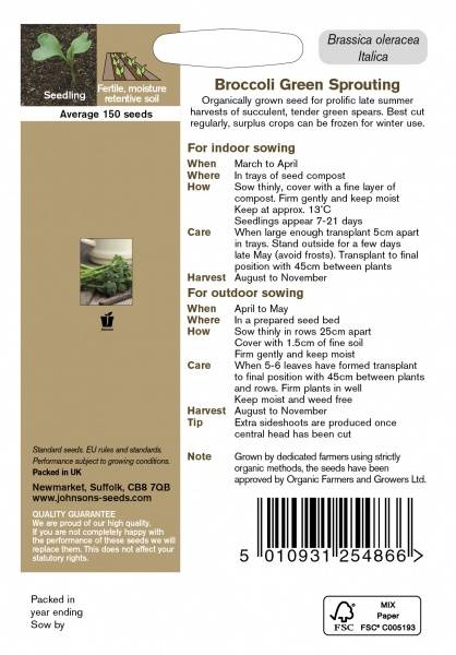Brokkoli 'Green Sprouting' - Organic